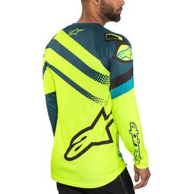 Alpinestars Racer Koszulka rowerowa z długim rękawem Mężczyźni, petrol/yellow fluo